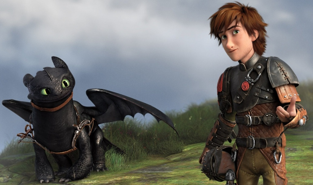 Toothless and Hiccup in the movie HOW TO TRAIN YOUR DRAGON 2
